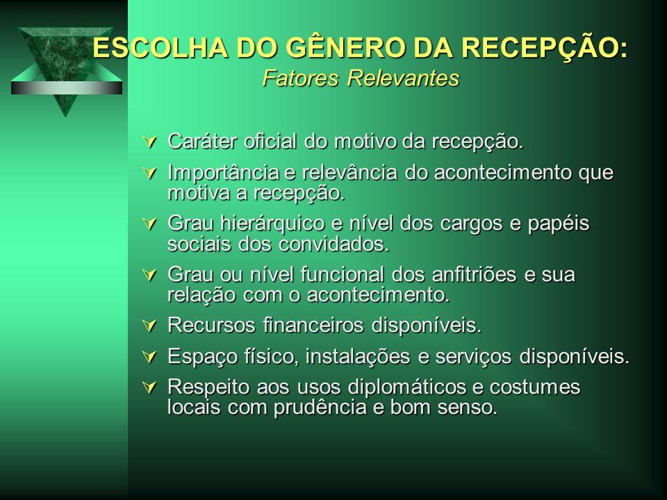 ESCOLHA DO GÊNERO DA RECEPÇÃO: Fatores Relevantes Caráter oficial do motivo da recepção.