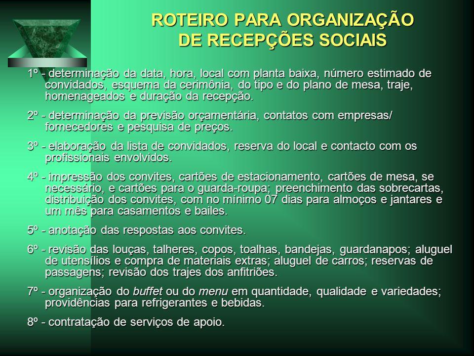 ROTEIRO PARA ORGANIZAÇÃO DE RECEPÇÕES SOCIAIS 1º - determinação da data, hora, local com planta baixa, número estimado de convidados, esquema da cerim
