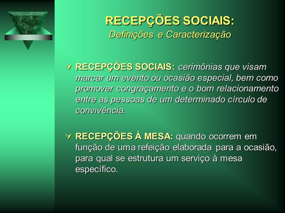 RECEPÇÕES SOCIAIS: Definições e Caracterização RECEPÇÕES SOCIAIS: cerimônias que visam marcar um evento ou ocasião especial, bem como promover congraç