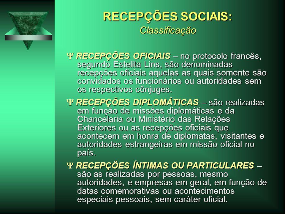 RECEPÇÕES SOCIAIS: Classificação RECEPÇÕES OFICIAIS – no protocolo francês, segundo Estelita Lins, são denominadas recepções oficiais aquelas as quais