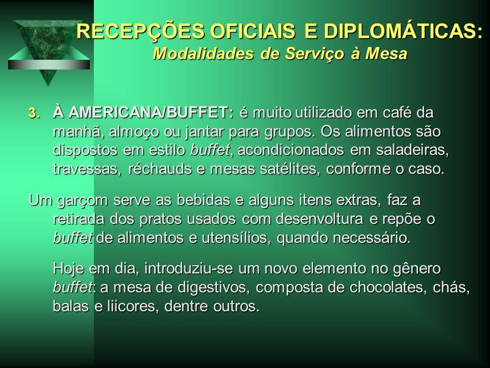 RECEPÇÕES OFICIAIS E DIPLOMÁTICAS: Modalidades de Serviço à Mesa 3. À AMERICANA/BUFFET: é muito utilizado em café da manhã, almoço ou jantar para grup
