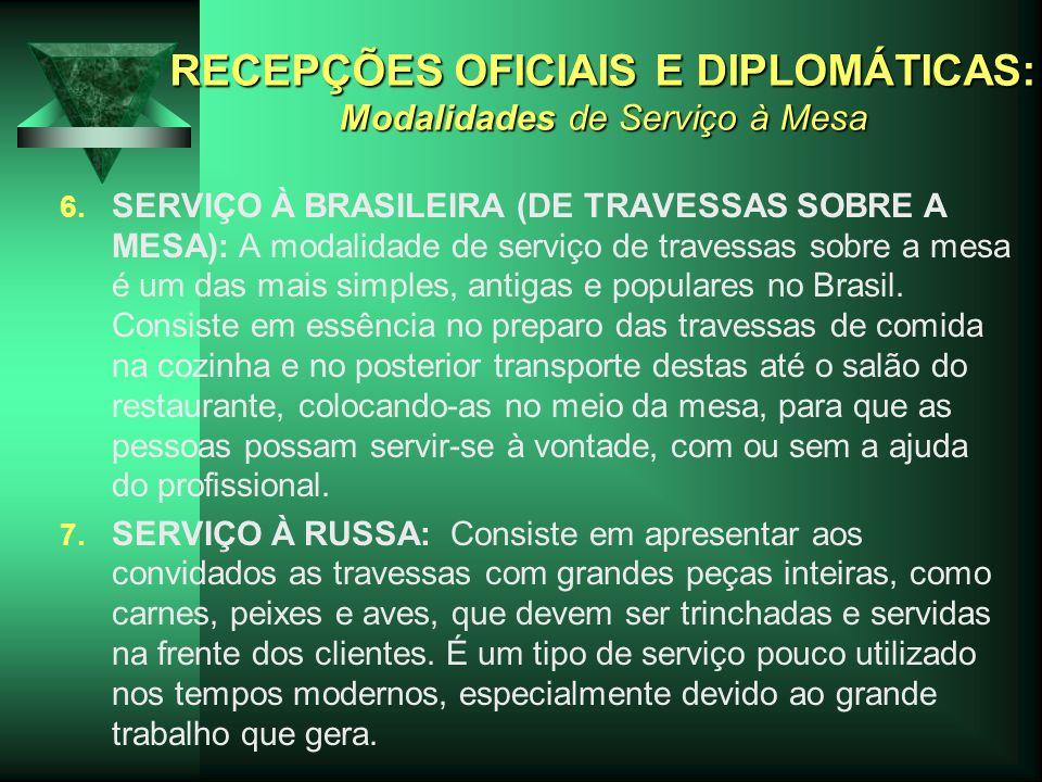 RECEPÇÕES OFICIAIS E DIPLOMÁTICAS: Modalidades de Serviço à Mesa 6. SERVIÇO À BRASILEIRA (DE TRAVESSAS SOBRE A MESA): A modalidade de serviço de trave