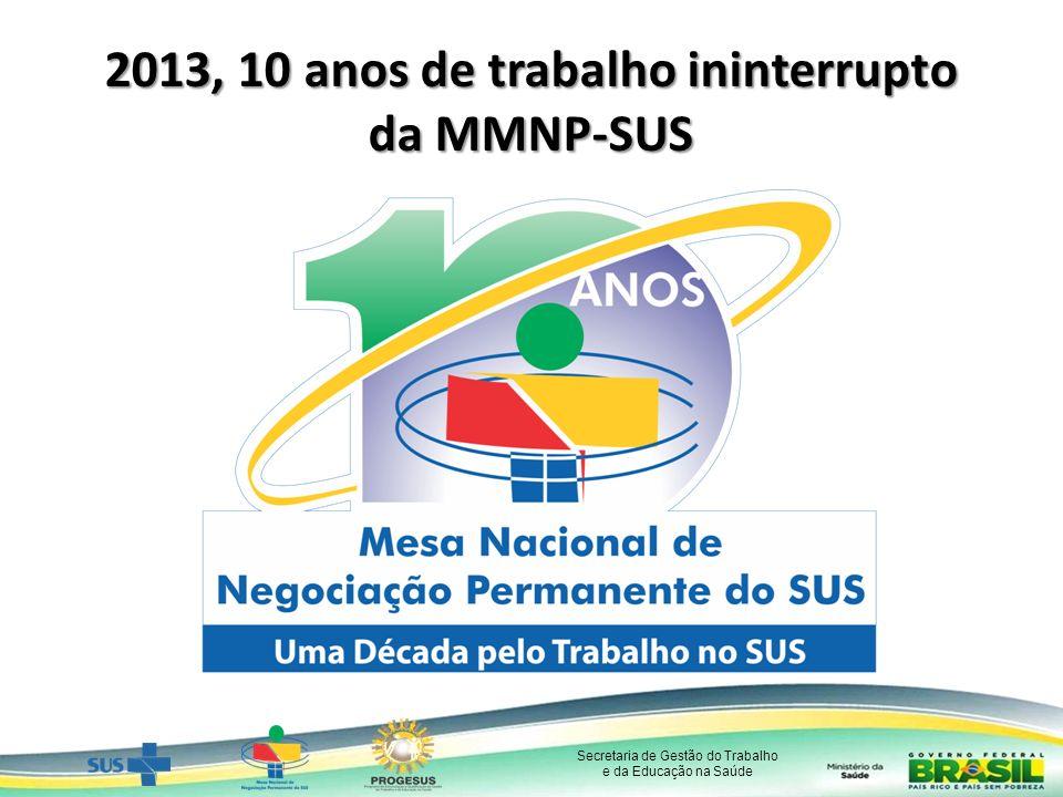 Secretaria de Gestão do Trabalho e da Educação na Saúde 2013, 10 anos de trabalho ininterrupto da MMNP-SUS