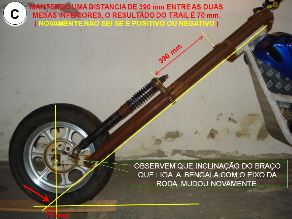 390 mm MANTENDO UMA DISTANCIA DE 390 mm ENTRE AS DUAS MESAS INFERIORES, O RESULTADO DO TRAIL É 70 mm.