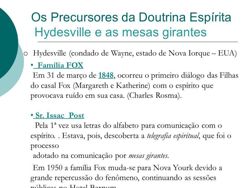 Os Precursores da Doutrina Espírita Hydesville e as mesas girantes o Hydesville (condado de Wayne, estado de Nova Iorque – EUA) Família FOX Em 31 de m
