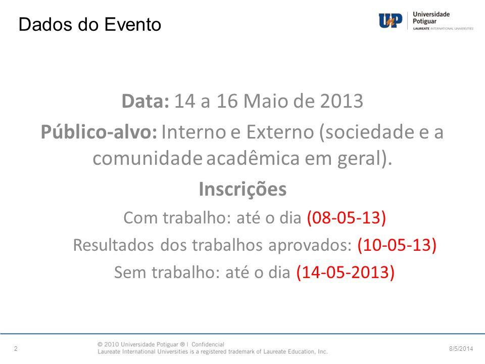 Dados do Evento 8/5/20142 Data: 14 a 16 Maio de 2013 Público-alvo: Interno e Externo (sociedade e a comunidade acadêmica em geral). Inscrições Com tra