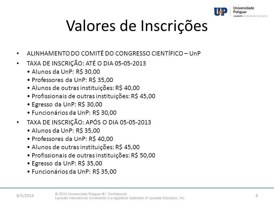 Valores de Inscrições ALINHAMENTO DO COMITÊ DO CONGRESSO CIENTÍFICO – UnP TAXA DE INSCRIÇÃO: ATÉ O DIA 05-05-2013 Alunos da UnP: R$ 30,00 Professores