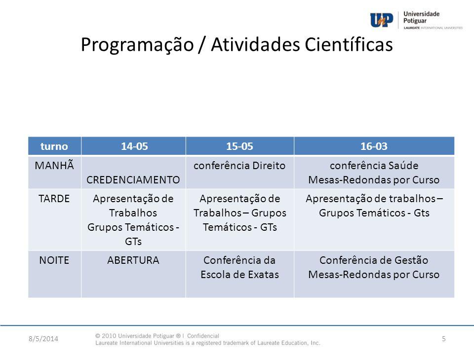 Programação / Atividades Científicas turno 14-0515-0516-03 MANHÃ CREDENCIAMENTO conferência Direitoconferência Saúde Mesas-Redondas por Curso TARDEApr