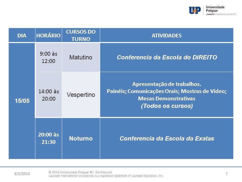 8/5/20147 DIAHORÁRIO CURSOS DO TURNO ATIVIDADES 15/05 9:00 às 12:00 MatutinoConferencia da Escola do DIREITO 14:00 às 20:00 Vespertino Apresentação de