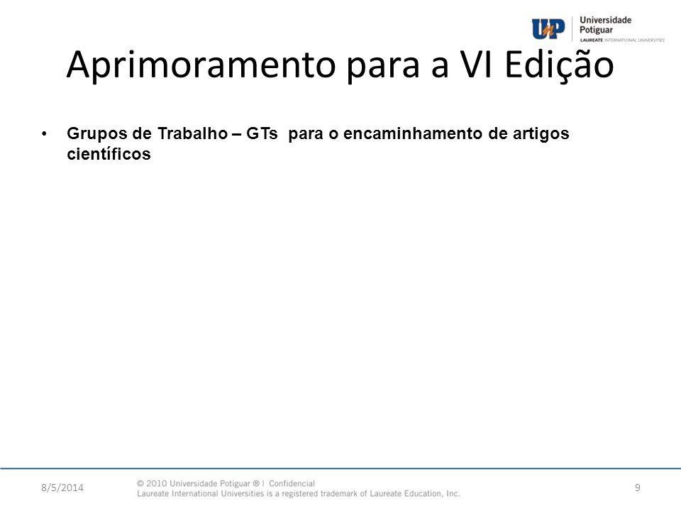 Aprimoramento para a VI Edição Grupos de Trabalho – GTs para o encaminhamento de artigos científicos 8/5/20149