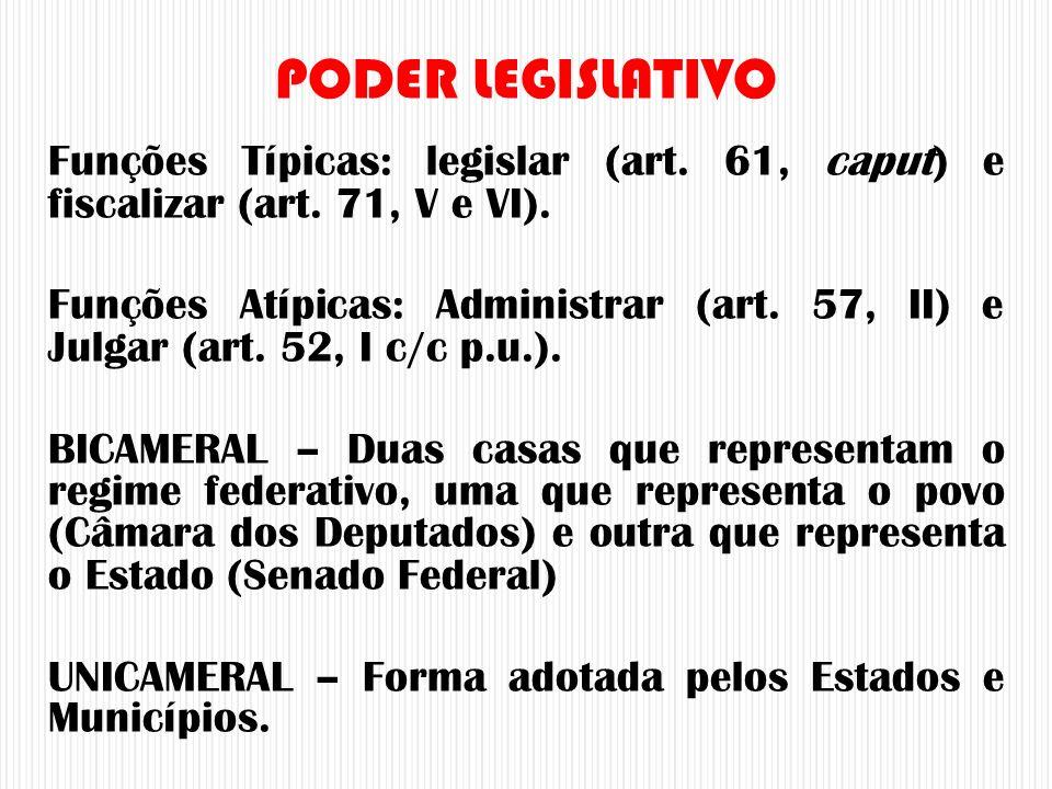 Funções Típicas: legislar (art. 61, caput) e fiscalizar (art. 71, V e VI). Funções Atípicas: Administrar (art. 57, II) e Julgar (art. 52, I c/c p.u.).