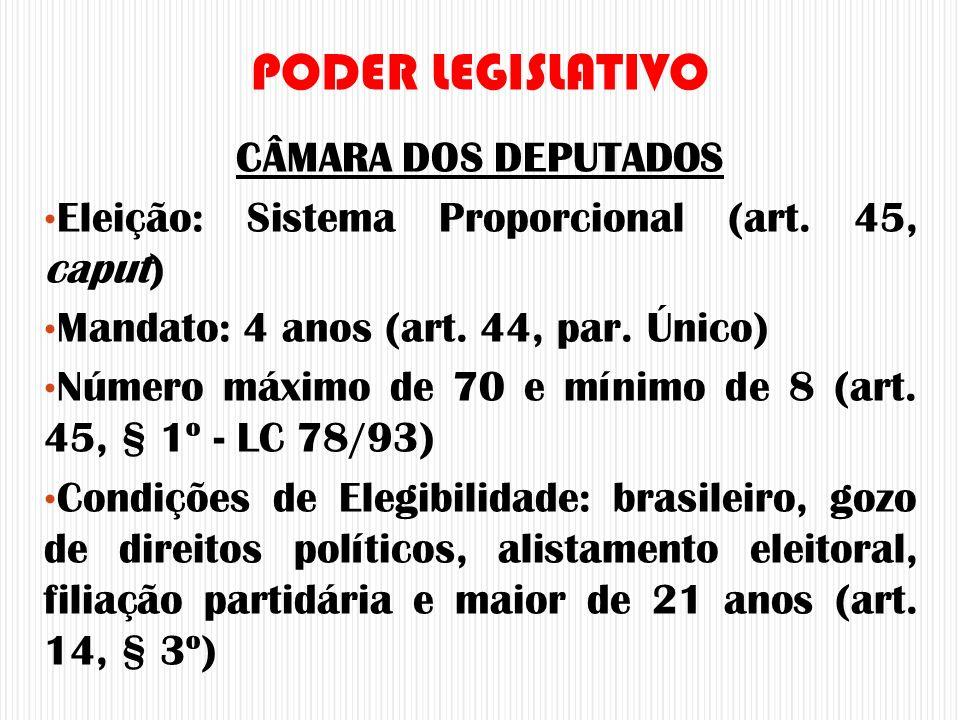CÂMARA DOS DEPUTADOS Eleição: Sistema Proporcional (art. 45, caput) Mandato: 4 anos (art. 44, par. Único) Número máximo de 70 e mínimo de 8 (art. 45,