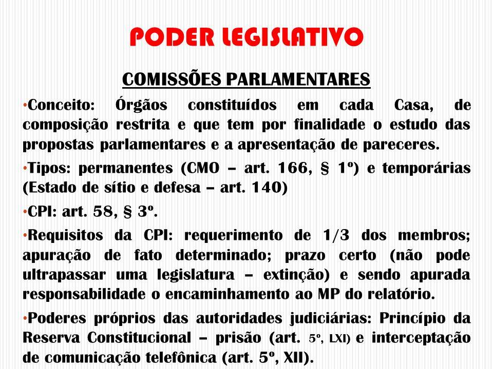 COMISSÕES PARLAMENTARES Conceito: Órgãos constituídos em cada Casa, de composição restrita e que tem por finalidade o estudo das propostas parlamentar