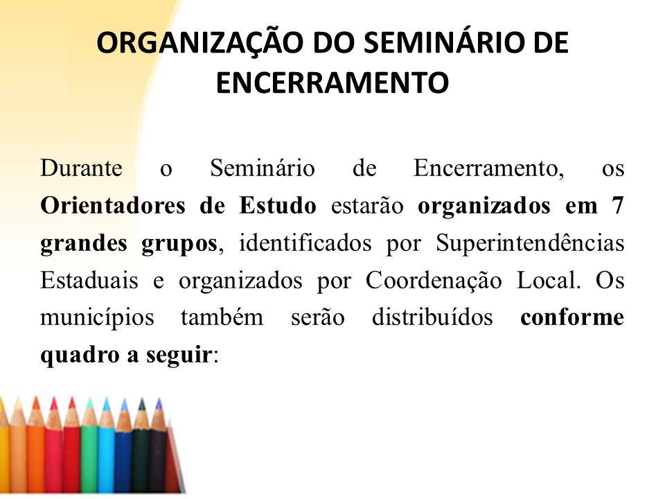 1º grupo: Geisiane Municípios: Alto do Rio Doce, Iguatama, Doresópolis, Virgínia Metropolitana B (30) Metropolitana A (11) Barbacena (03) – Pirapora (02) Juiz de fora (07) 2º grupo: Angélica Junqueira Municípios: Cana Verde, Itapeva, Pimenta Metropolitana C (26) – Curvelo (01) Conselheiro Lafaiete (06) – Patrocínio (03) Ouro Preto (03) – Ituiutaba (03) Guanhães (05) – Caxambu (03) – Passos (03) 3º grupo: Ermelinda Municípios: Candeias, Japaraíba, Ribeirão Vermelho Ponte Nova (06) – S.Joao Del Rei (03) Ubá (07) – Divinópolis (14) Nova Era (04) – Januária (19) 4º grupo: Danielle Municípios: Coroaci, Luminárias, Santana do Jacaré Montes Claros (23) – Pará de Minas (06) Poços de Caldas (03) – SS do Paraiso (03) Unai (03) – Manhuaçu (09) Pouso Alegre (06) – Itajubá (01) 5º grupo: Adriana Municípios: Divinésia, Maria da Fé, São Bento Abade Uberlândia (17) – Monte Carmelo (03) Patos de Minas (06) – Uberaba (07) Janaúba (12) – Campo Belo (02) Cel Fabriciano (07) 6º grupo: Leônidas Município: Mateus Leme Varginha (14) – Gov.