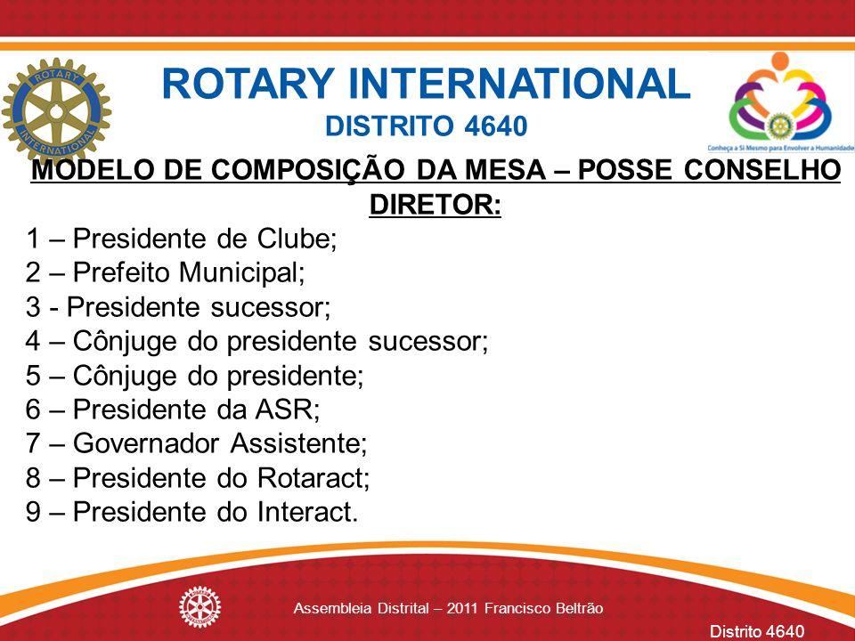 Distrito 4640 Assembleia Distrital – 2011 Francisco Beltrão MODELO DE COMPOSIÇÃO DA MESA – POSSE CONSELHO DIRETOR: 1 – Presidente de Clube; 2 – Prefei