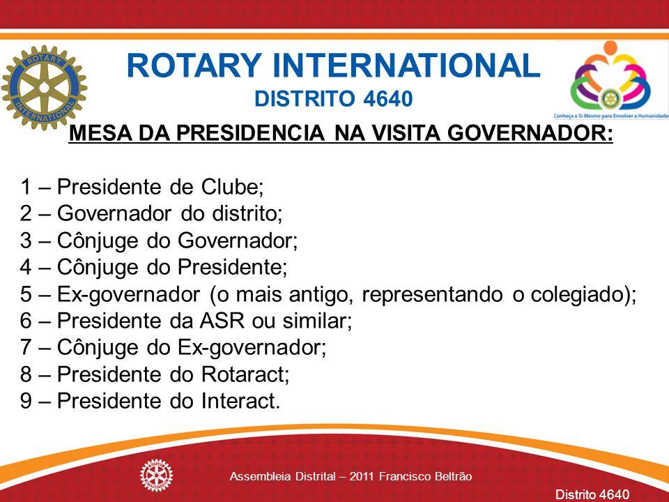 Distrito 4640 Assembleia Distrital – 2011 Francisco Beltrão MESA DA PRESIDENCIA NA VISITA GOVERNADOR: 1 – Presidente de Clube; 2 – Governador do distr
