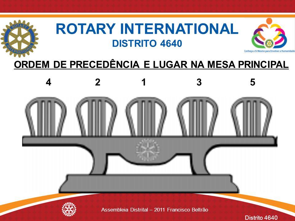 Distrito 4640 Assembleia Distrital – 2011 Francisco Beltrão ROTARY INTERNATIONAL DISTRITO 4640 4 2 1 3 5 ORDEM DE PRECEDÊNCIA E LUGAR NA MESA PRINCIPA