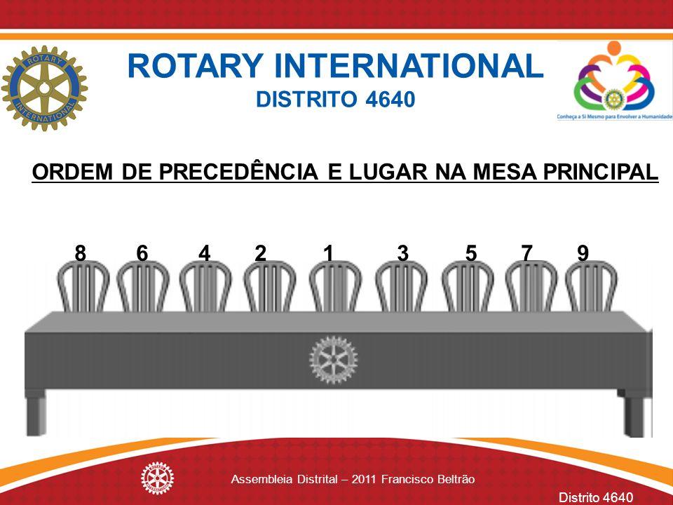 Distrito 4640 Assembleia Distrital – 2011 Francisco Beltrão ROTARY INTERNATIONAL DISTRITO 4640 ORDEM DE PRECEDÊNCIA E LUGAR NA MESA PRINCIPAL 8 6 4 2