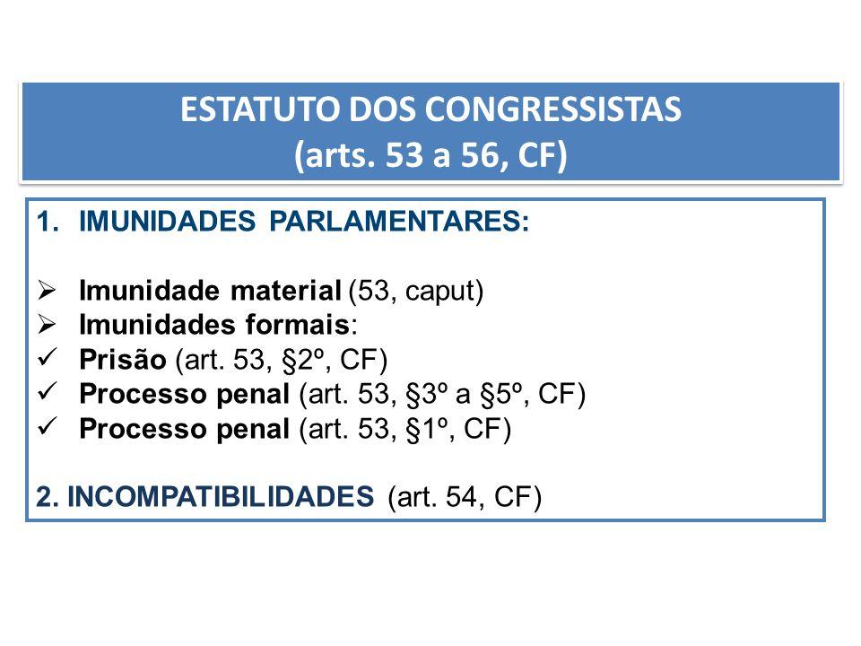 ESTATUTO DOS CONGRESSISTAS (arts. 53 a 56, CF) ESTATUTO DOS CONGRESSISTAS (arts. 53 a 56, CF) 1.IMUNIDADES PARLAMENTARES: Imunidade material (53, capu