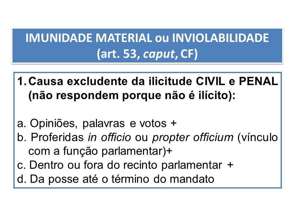 IMUNIDADE MATERIAL ou INVIOLABILIDADE (art. 53, caput, CF) 1.Causa excludente da ilicitude CIVIL e PENAL (não respondem porque não é ilícito): a. Opin