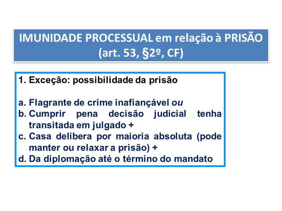 AULA6 IMUNIDADE PROCESSUAL em relação à PRISÃO (art. 53, §2º, CF) 1.Exceção: possibilidade da prisão a.Flagrante de crime inafiançável ou b.Cumprir pe