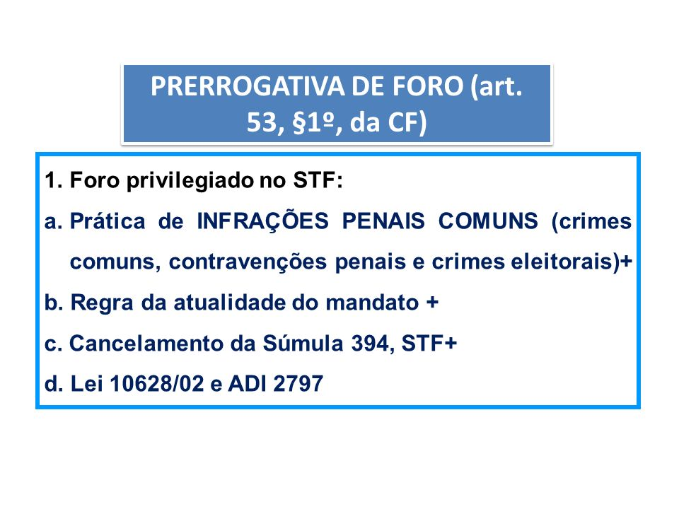 AULA6 PRERROGATIVA DE FORO (art. 53, §1º, da CF) 1.Foro privilegiado no STF: a.Prática de INFRAÇÕES PENAIS COMUNS (crimes comuns, contravenções penais
