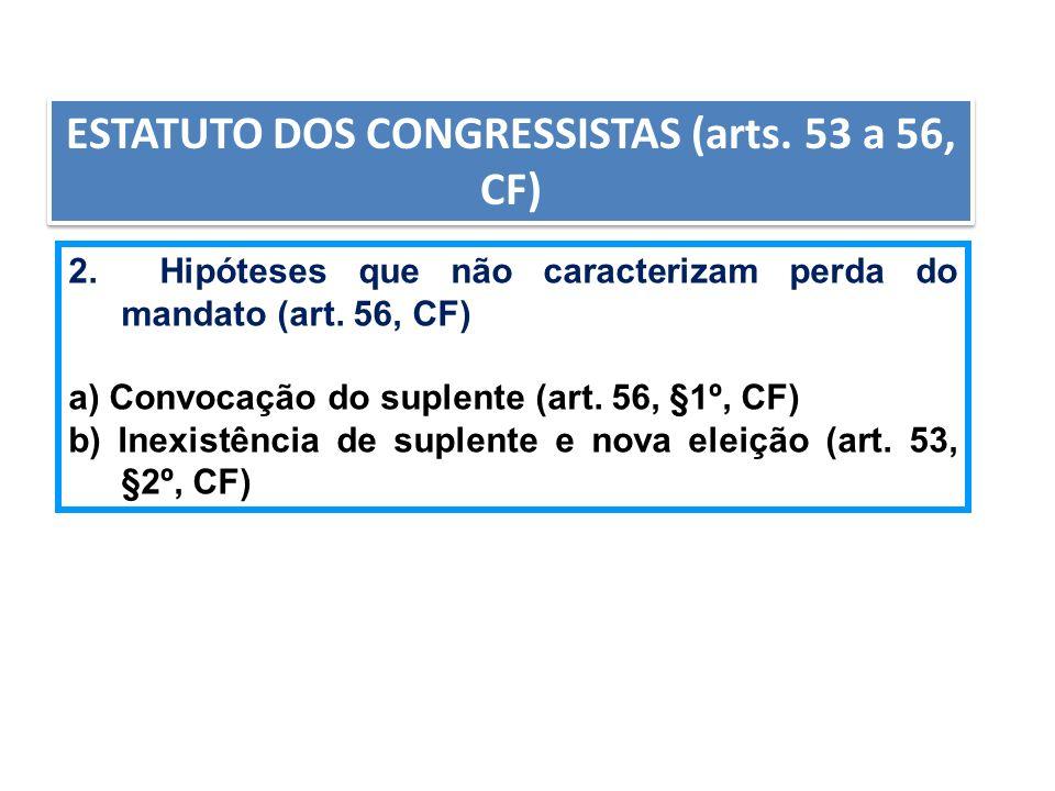 ESTATUTO DOS CONGRESSISTAS (arts. 53 a 56, CF) 2. Hipóteses que não caracterizam perda do mandato (art. 56, CF) a) Convocação do suplente (art. 56, §1