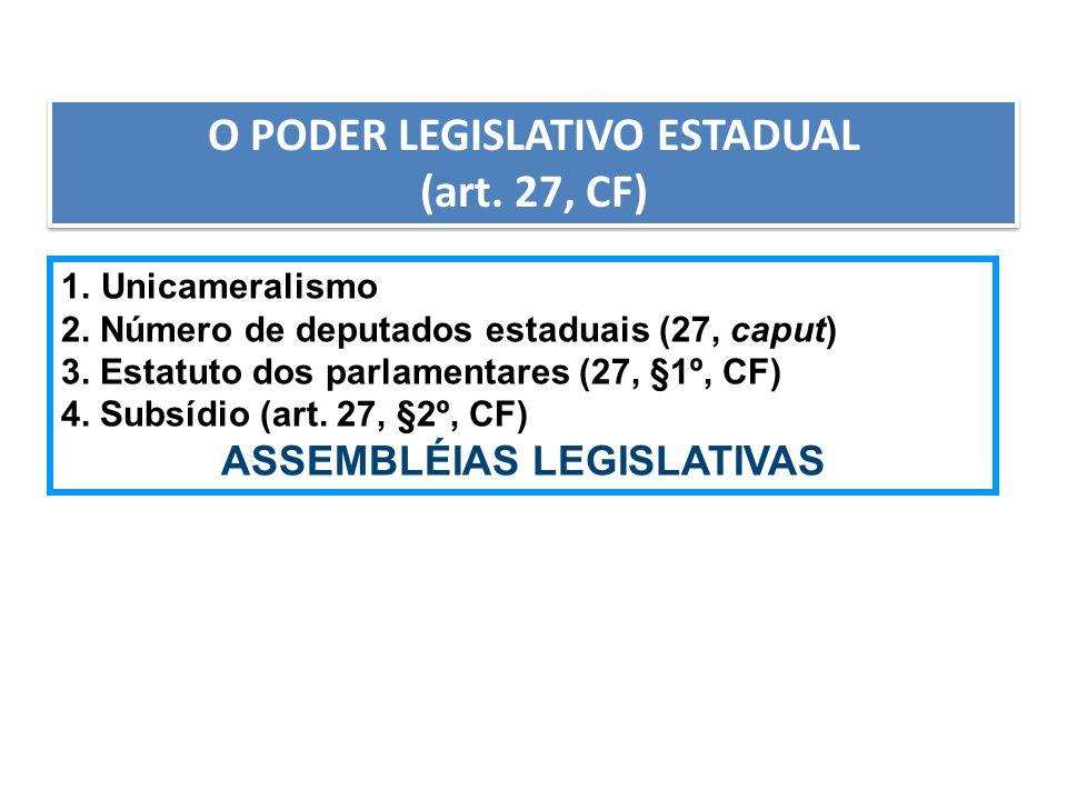 AULA 6 O PODER LEGISLATIVO ESTADUAL (art. 27, CF) O PODER LEGISLATIVO ESTADUAL (art. 27, CF) 1.Unicameralismo 2. Número de deputados estaduais (27, ca