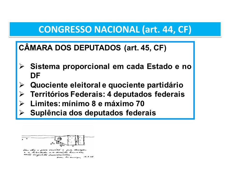 CONGRESSO NACIONAL (art. 44, CF) CÂMARA DOS DEPUTADOS (art. 45, CF) Sistema proporcional em cada Estado e no DF Quociente eleitoral e quociente partid