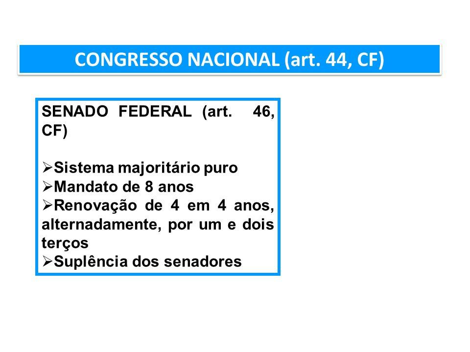 AULA 6 CONGRESSO NACIONAL (art. 44, CF) SENADO FEDERAL (art. 46, CF) Sistema majoritário puro Mandato de 8 anos Renovação de 4 em 4 anos, alternadamen