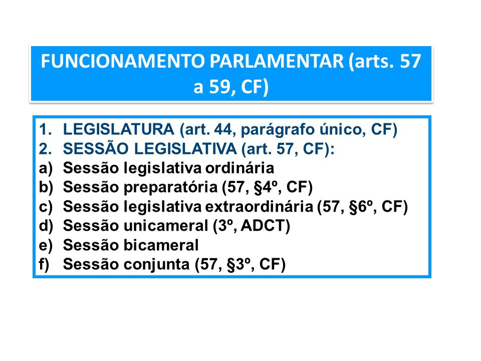 FUNCIONAMENTO PARLAMENTAR (arts. 57 a 59, CF) 1.LEGISLATURA (art. 44, parágrafo único, CF) 2.SESSÃO LEGISLATIVA (art. 57, CF): a)Sessão legislativa or