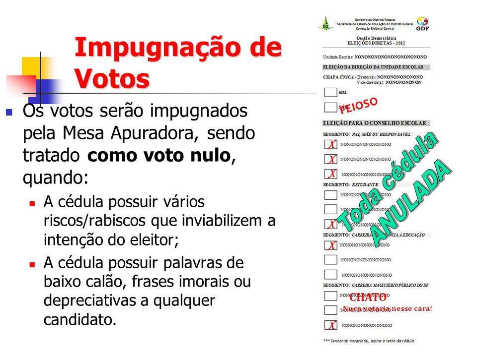 Impugnação de Votos Os votos serão impugnados pela Mesa Apuradora, sendo tratado como voto nulo, quando: A cédula possuir vários riscos/rabiscos que inviabilizem a intenção do eleitor; A cédula possuir palavras de baixo calão, frases imorais ou depreciativas a qualquer candidato.