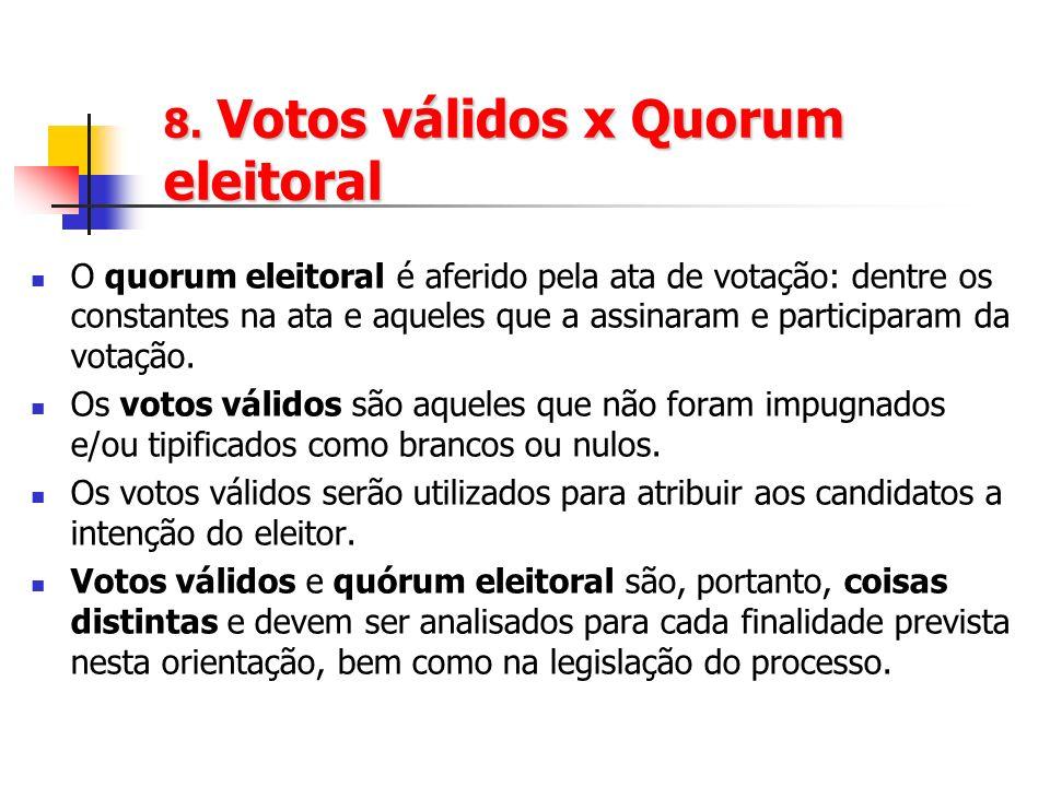 8. Votos válidos x Quorum eleitoral O quorum eleitoral é aferido pela ata de votação: dentre os constantes na ata e aqueles que a assinaram e particip