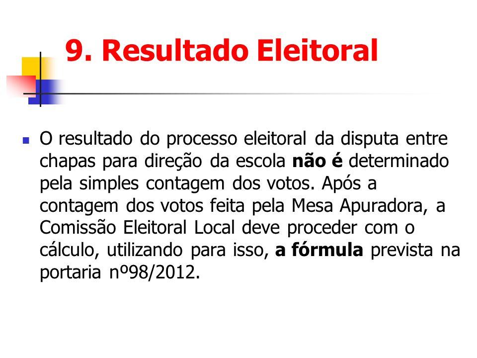 9. Resultado Eleitoral O resultado do processo eleitoral da disputa entre chapas para direção da escola não é determinado pela simples contagem dos vo