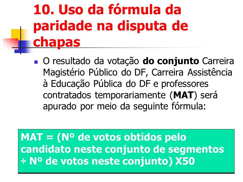 10. Uso da fórmula da paridade na disputa de chapas O resultado da votação do conjunto Carreira Magistério Público do DF, Carreira Assistência à Educa