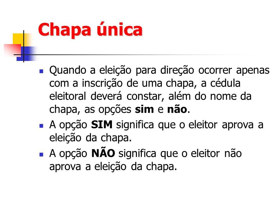 Chapa única Quando a eleição para direção ocorrer apenas com a inscrição de uma chapa, a cédula eleitoral deverá constar, além do nome da chapa, as opções sim e não.