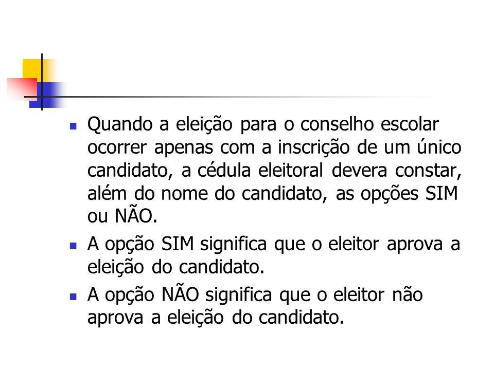 Quando a eleição para o conselho escolar ocorrer apenas com a inscrição de um único candidato, a cédula eleitoral devera constar, além do nome do candidato, as opções SIM ou NÃO.