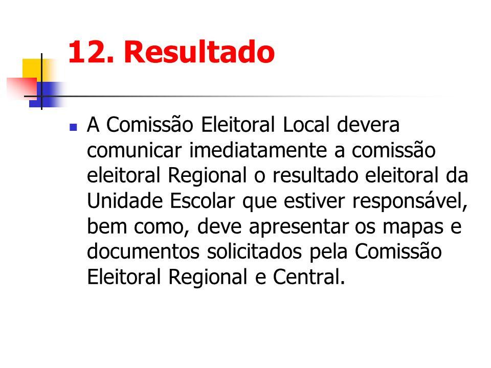 12. Resultado A Comissão Eleitoral Local devera comunicar imediatamente a comissão eleitoral Regional o resultado eleitoral da Unidade Escolar que est