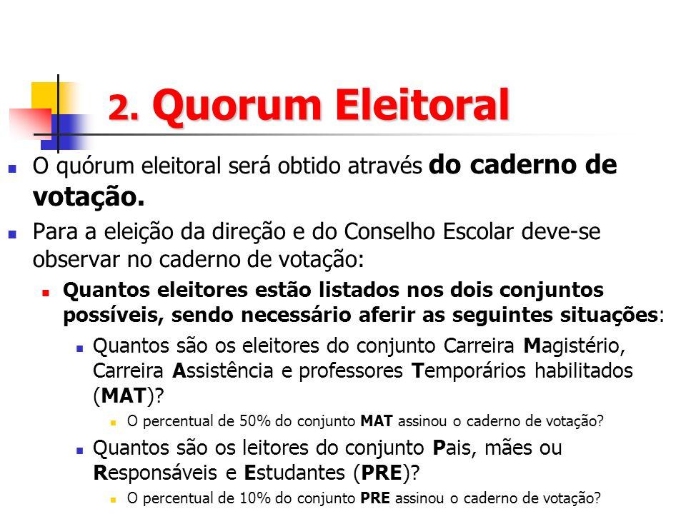 2. Quorum Eleitoral O quórum eleitoral será obtido através do caderno de votação. Para a eleição da direção e do Conselho Escolar deve-se observar no