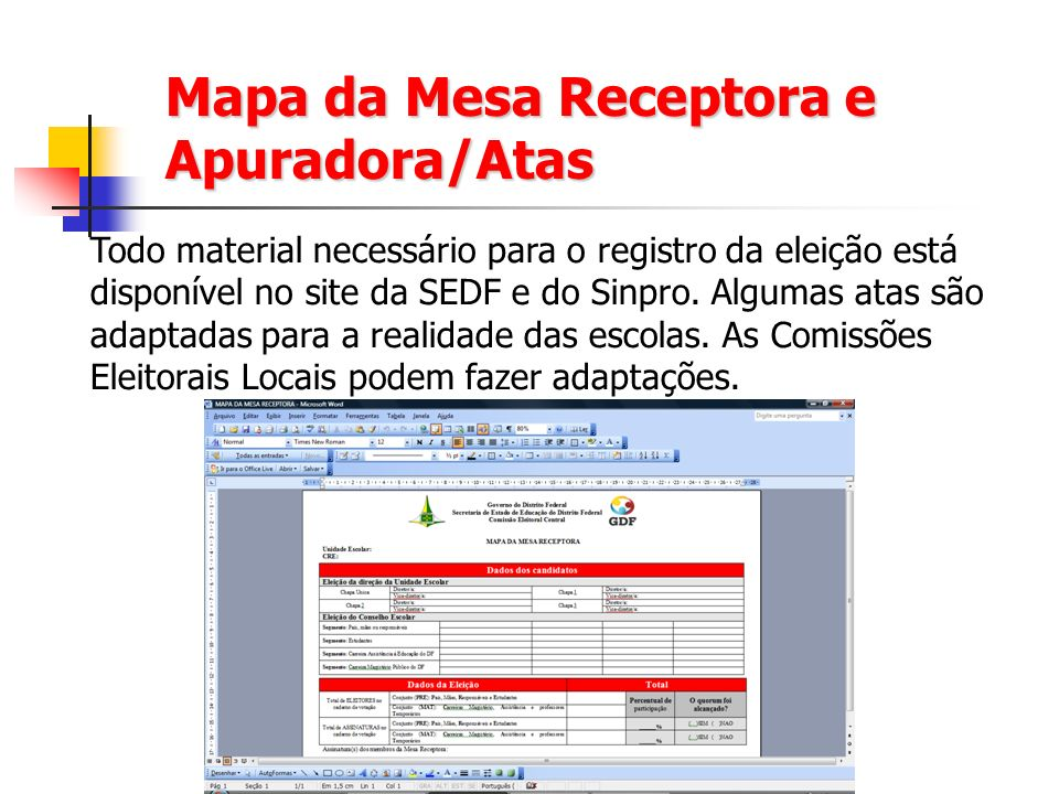 Mapa da Mesa Receptora e Apuradora/Atas Todo material necessário para o registro da eleição está disponível no site da SEDF e do Sinpro. Algumas atas