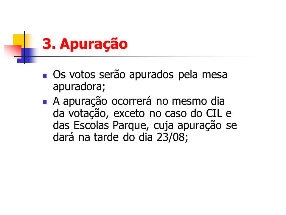 3. Apuração Os votos serão apurados pela mesa apuradora; A apuração ocorrerá no mesmo dia da votação, exceto no caso do CIL e das Escolas Parque, cuja