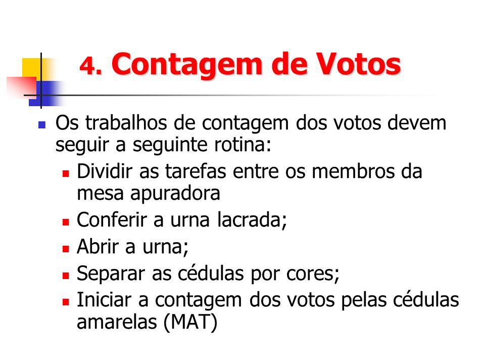 4. Contagem de Votos Os trabalhos de contagem dos votos devem seguir a seguinte rotina: Dividir as tarefas entre os membros da mesa apuradora Conferir