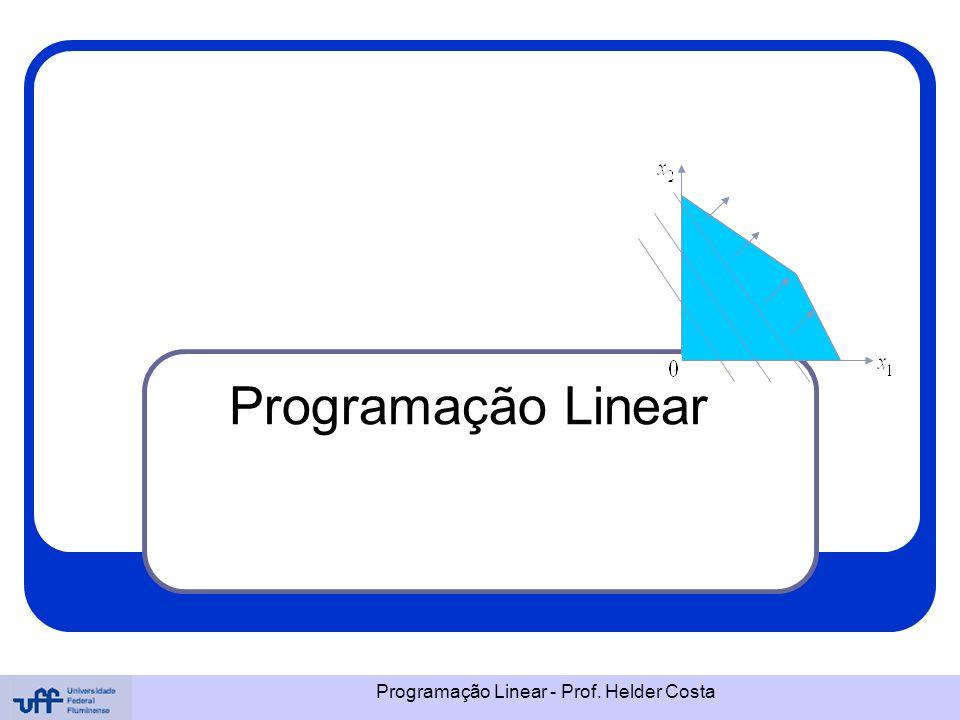Programação Linear Programação Linear - Prof. Helder Costa
