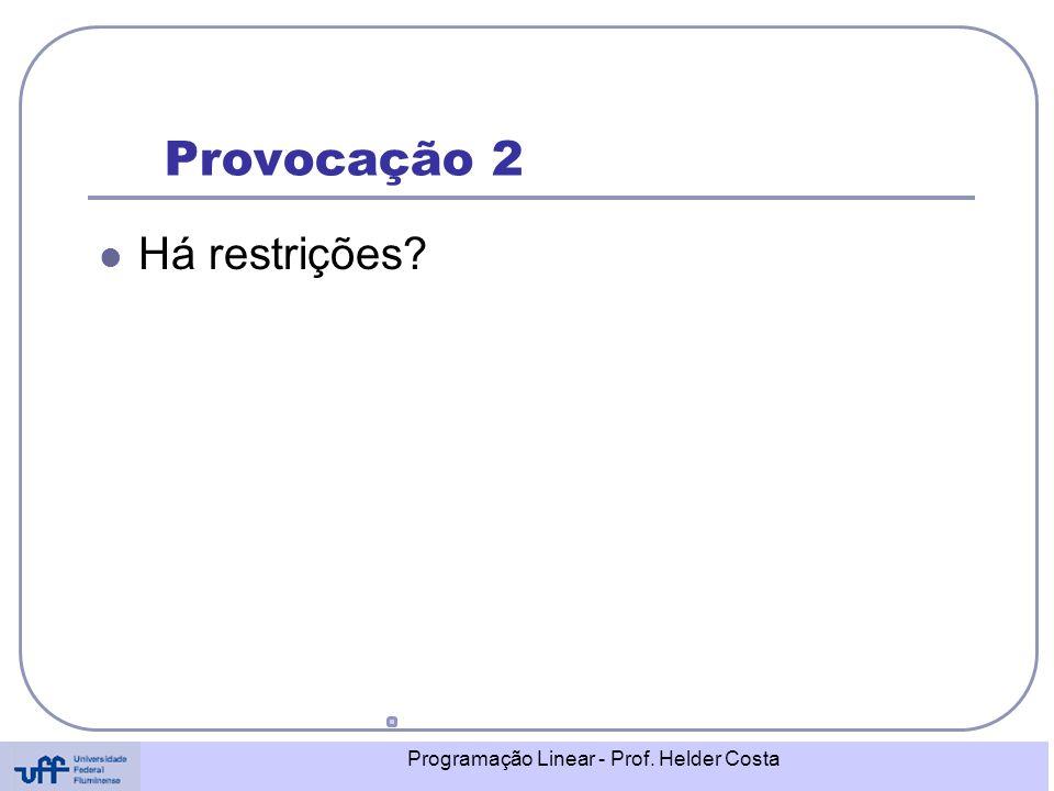 Programação Linear - Prof. Helder Costa Provocação 2 Há restrições?