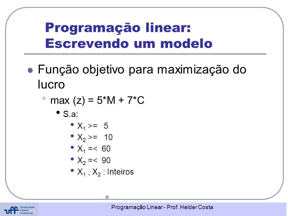 Programação Linear - Prof. Helder Costa Programação linear: Escrevendo um modelo Função objetivo para maximização do lucro max (z) = 5*M + 7*C S.a: X
