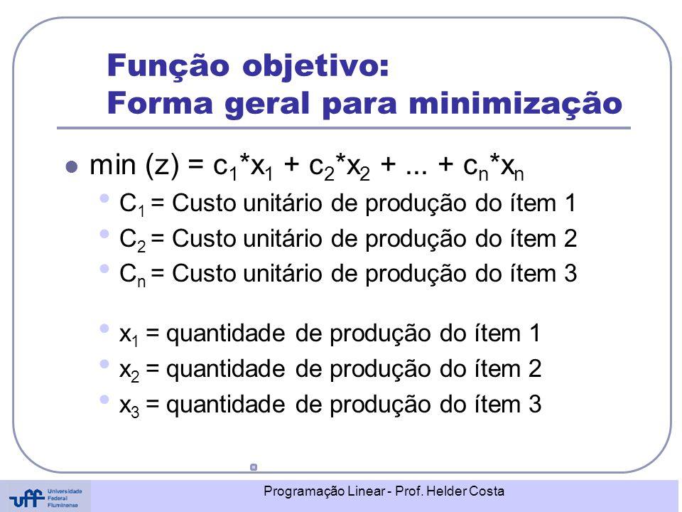 Programação Linear - Prof. Helder Costa Função objetivo: Forma geral para minimização min (z) = c 1 *x 1 + c 2 *x 2 +... + c n *x n C 1 = Custo unitár