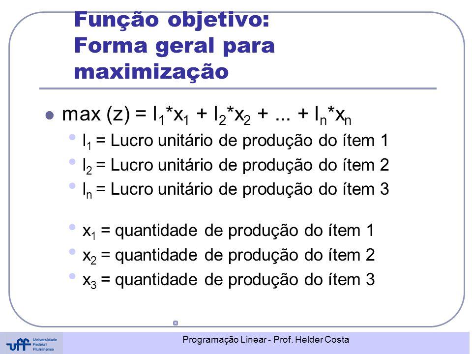 Programação Linear - Prof. Helder Costa Função objetivo: Forma geral para maximização max (z) = l 1 *x 1 + l 2 *x 2 +... + l n *x n l 1 = Lucro unitár
