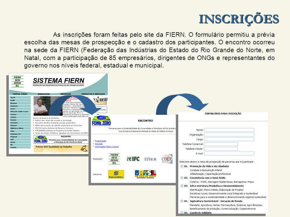 INSCRIÇÕES As inscrições foram feitas pelo site da FIERN.