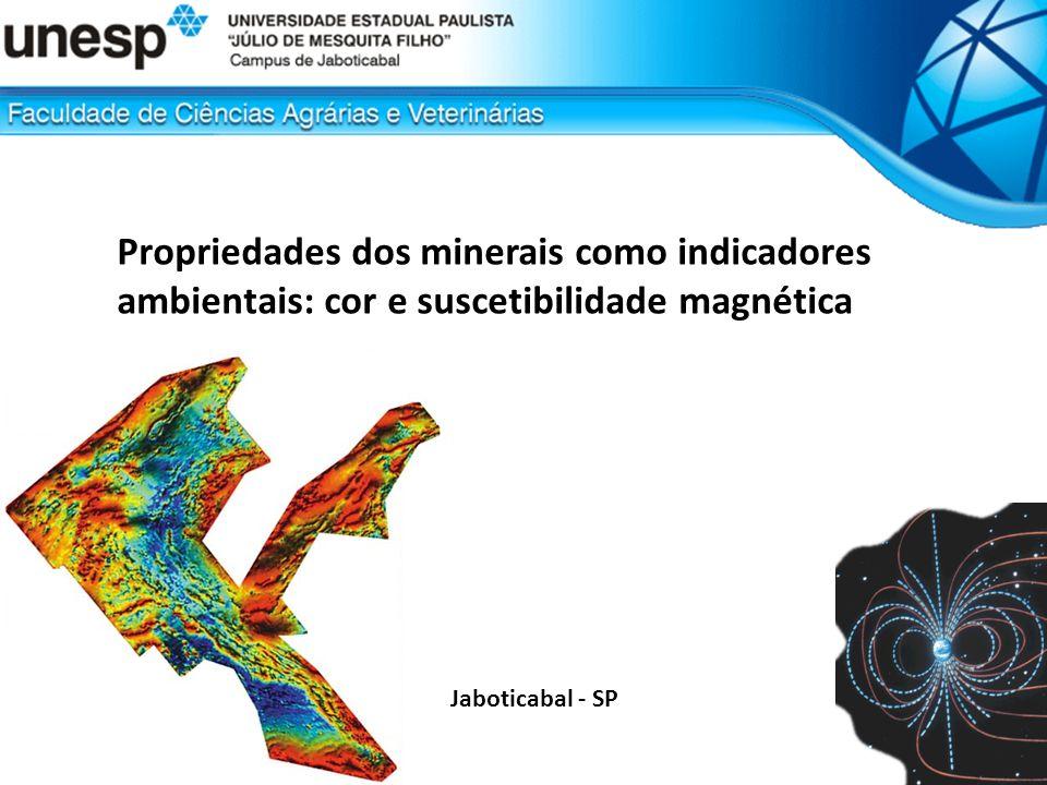 Propriedades dos minerais como indicadores ambientais: cor e suscetibilidade magnética Propriedades do minerais: suscetibilidade magnética FeOHOH OH OH OH OH