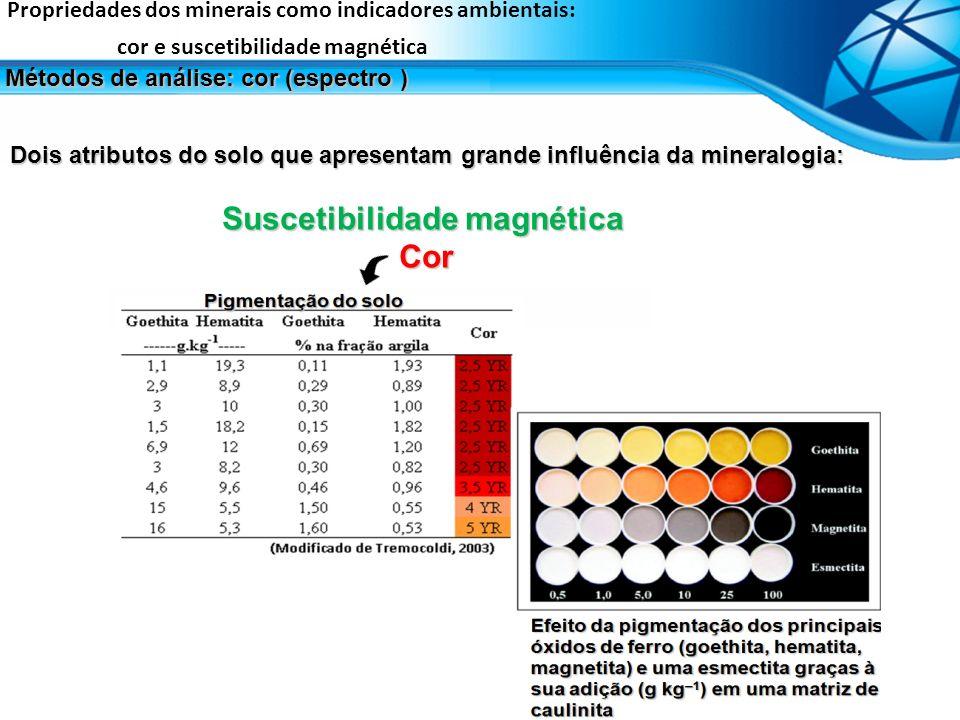 Dois atributos do solo que apresentam grande influência da mineralogia: Suscetibilidade magnética Cor Propriedades dos minerais como indicadores ambie